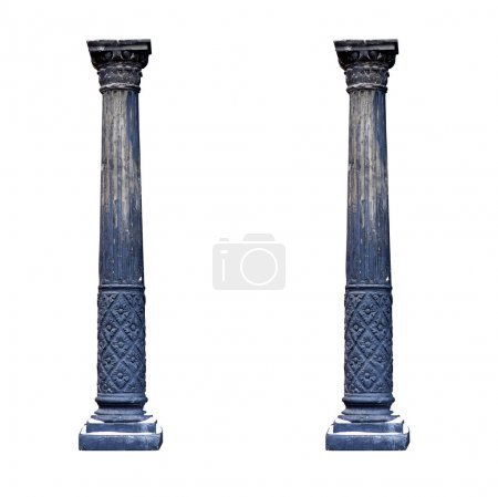 Photo for Black architectural columns isolated on white background. - Royalty Free Image