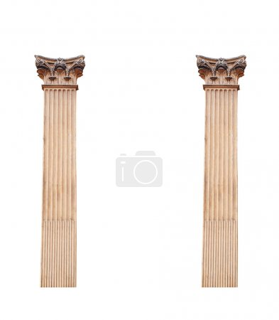 Photo for Two old architectural columns isolated on white background. - Royalty Free Image