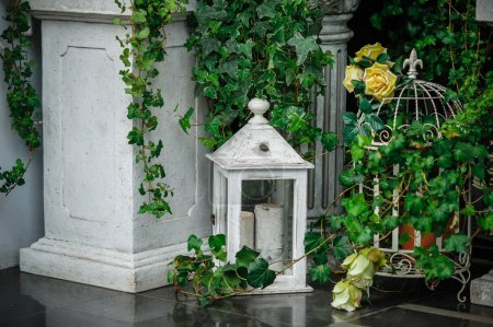 Beautiful composition of flowers and architectural elements