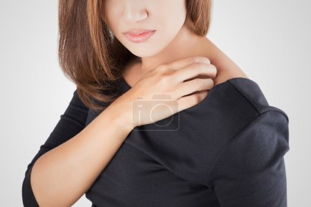 Woman scratching herself, On white background