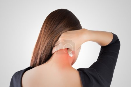 Photo for Woman having pain in the back and neck, Pain in the back - Royalty Free Image