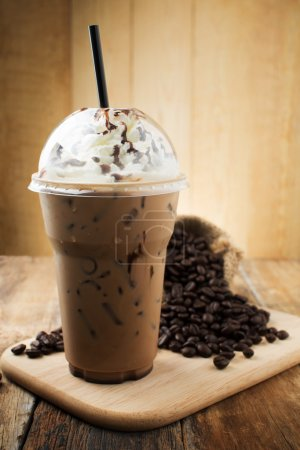 Photo for Iced mocha with straw in plastic cup - Royalty Free Image