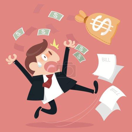 Illustration pour Homme d'affaires et effrayé de payer beaucoup de facture . - image libre de droit