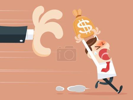 Hand grabbing money bag...