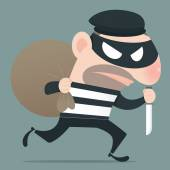 Thief holding knife in his hand and carrying a money bag EPS10 Vector