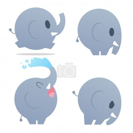 Cute cartoon elephant. Vector illustration with simple gradients