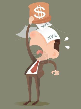 Illustration pour Homme d'affaires perdant de l'argent d'un sac - image libre de droit