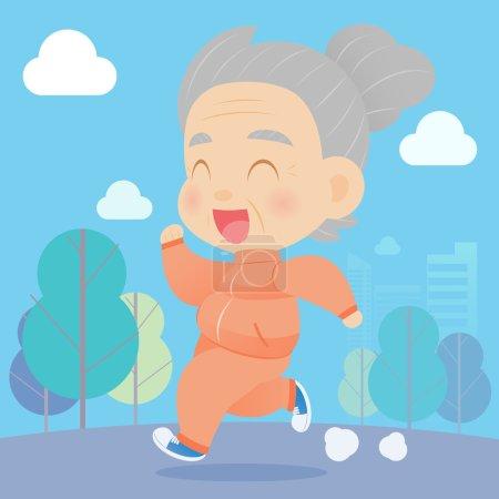 Senior aged woman jogging
