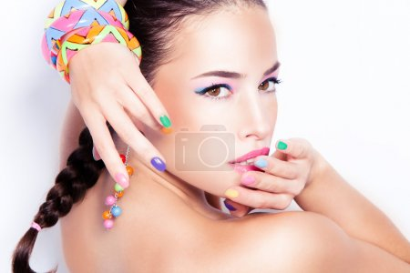 Photo for Summer beauty portrait with colorful fashion accessories - Royalty Free Image
