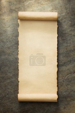 parchment scroll at wall