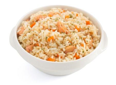 Photo pour Bol plein de riz isolé sur fond blanc - image libre de droit