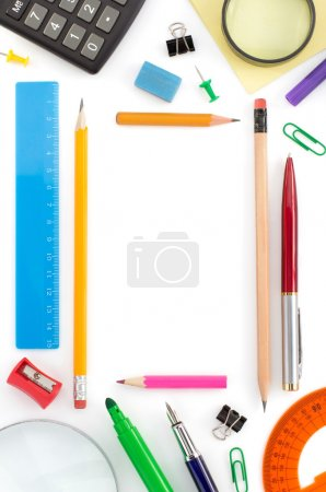 school supplies on white