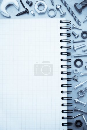 Hardware tools and notebook