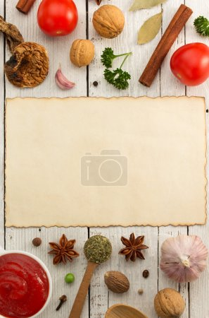 Herbs and spices on wood