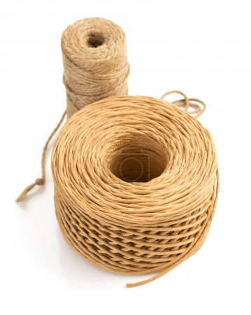 Rolls of twine cord on white