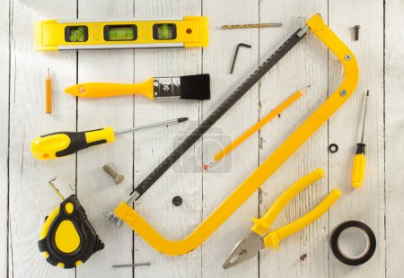 work tools and instruments on wood