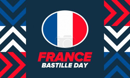 Illustration for Bastille Day in France. National happy holiday, celebrated annual in July 14. French flag. France independence and freedom. Patriotic elements. Festive design. Vector poster illustration - Royalty Free Image