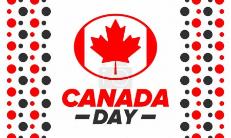 Illustration for Happy Canada Day. National holiday, celebrated annual in July 1. Canadian flag. Maple leaf. Patriotic symbol and elements. Poster, card, banner and background. Vector illustration - Royalty Free Image