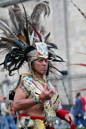 MEXICO CITY - FEB 23 2010:Portrait of Male Aztec w...
