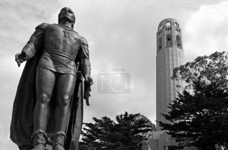 Coit Tower with statue of Columbus in San Francisco, CA