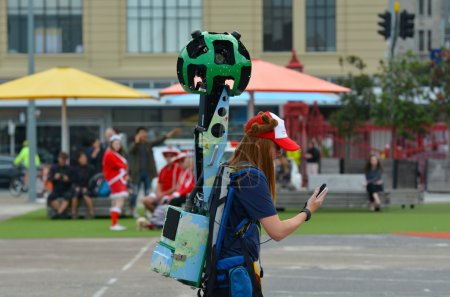 Google Street View camera operator at work