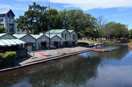 Punting and Kayaks boat shed on the Avon river Christchurch  - N