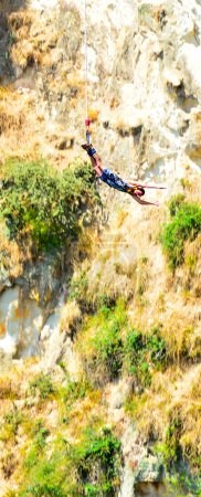 Person during bungy jump