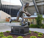 The statue of Lou Richards, an Australian rules footballer, at Olympic Park in Melbourne,