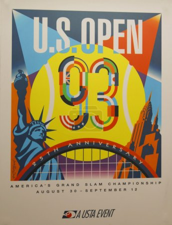 US Open 1993 poster on display at the Billie Jean King National Tennis Center in New York