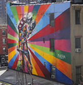 Mural art by Brazilian Mural Artist Eduardo Kobra in Chelsea neighborhood in Manhattan