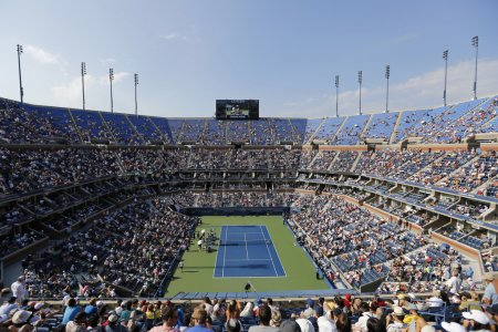 Arthur Ashe Stadium during match at US Open 2014 at Billie Jean King National Tennis Center