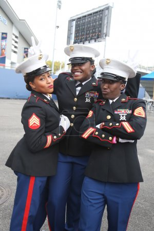 United States Marine Corps officers at Billie Jean King National Tennis Center before unfurling the American flag prior US Open 2015 men's fina