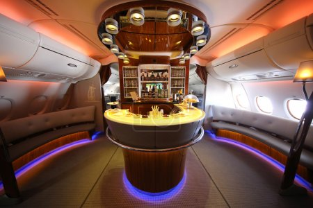 Emirates Airbus A380 in flight cocktail bar and lounge
