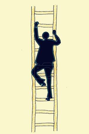 Man on a Ladder, success ladder concept