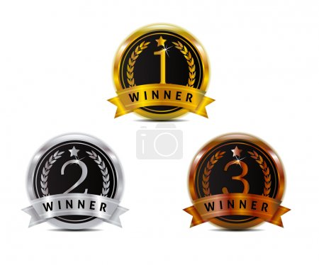 Illustration pour 1 2 3 badge for winner with gold silver and bronze color - image libre de droit