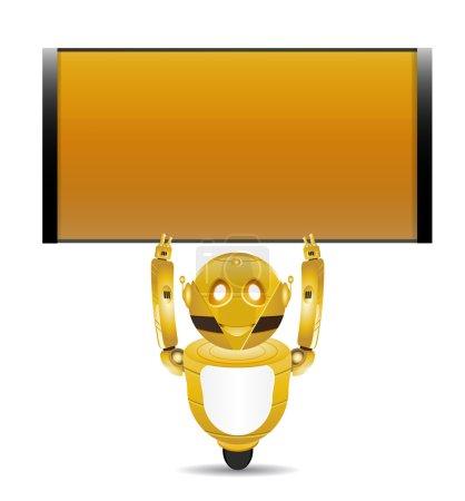 golden robot with text box