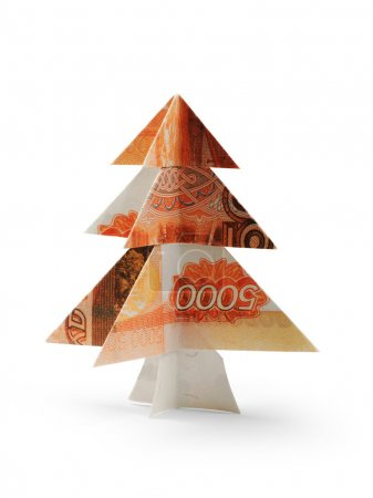 Photo for Christmas tree made of five thousandth ruble bills - Royalty Free Image