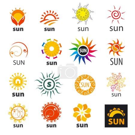 Illustration for Big set of vector logos sun - Royalty Free Image