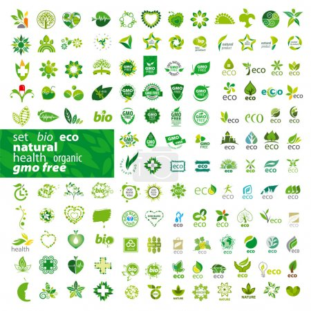 Illustration for Big set of vector logos ecology, health, natura - Royalty Free Image