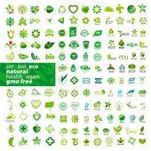 big set of vector logos ecology health natural