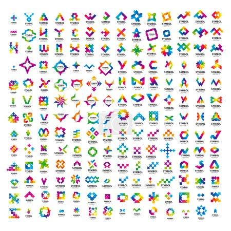 Illustration pour Un très grand ensemble de logos vectoriels abstraits - image libre de droit
