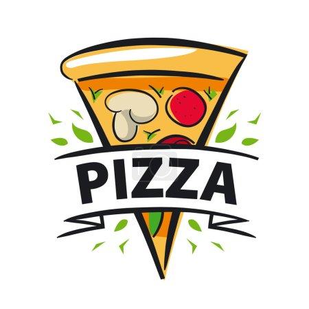 Illustration pour Tranche de pizza et ribbo logo vectoriel - image libre de droit