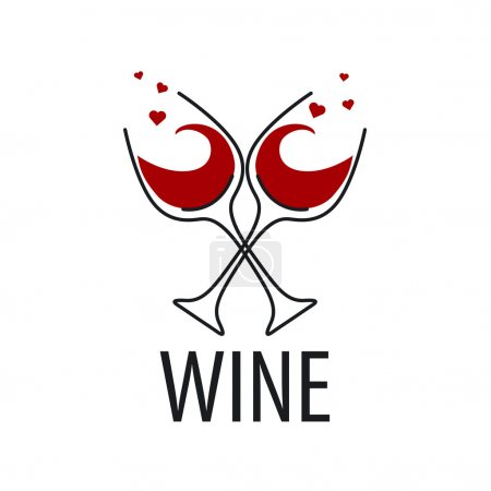Illustration pour Verres à logo vectoriel de vin rouge avec des coeurs - image libre de droit