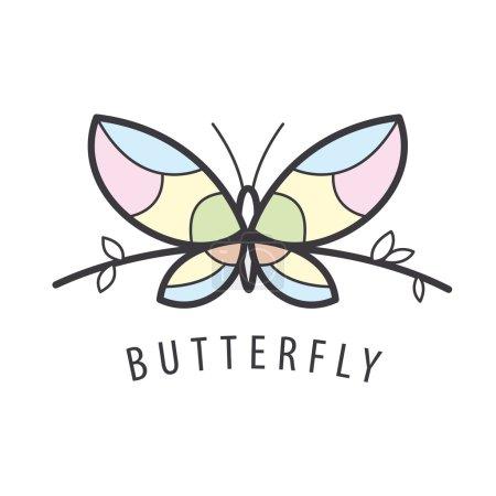 Illustration pour Logo vectoriel papillon perché sur une branche - image libre de droit
