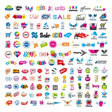 Illustration pour Grand ensemble de logos vectoriels shopping - image libre de droit