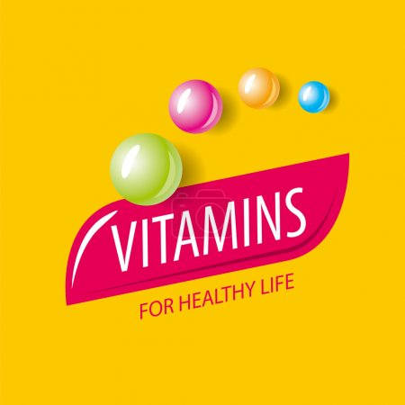Vector logo vitamins in the form of colored capsul...