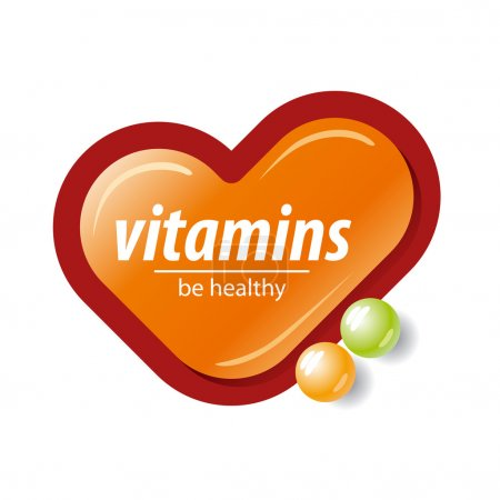Vector logo orange check mark vitamins...