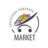 vector logo shopping trolley of goods