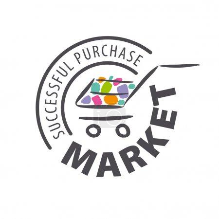 Illustration pour Logo vectoriel rond chariot d'achat de marchandises - image libre de droit