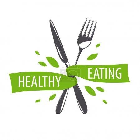 vector logo fork and knife for a healthy diet